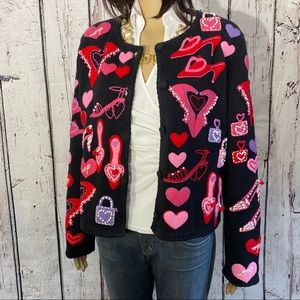 🎉HP🎉 VTG Michael Simon Cardigan Valentine's Day